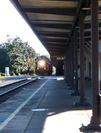 Train coming into Southern Pines depot
